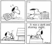 "Memes, Peanuts, and 🤖: It was a dark and  stormy night. Two Peanuts firsts appeared in this strip from July 12, 1965--Snoopy's typewriter, and the first line of his novel, ""It was a dark and stormy night."" In a 1980 interview Charles Schulz said, ""If you look at the doghouse from a three quarters view, the typewriter is going to fall off. But from the side, you can accept it."""