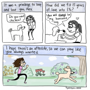 Feeling hopeful [OC]: It was a privilege to love) THow did we fit 15  and lose you, Alex.  years  of love into 1½?  Do  you want  chicken?  You will always be  my, hansome  boy.  I hope there's an afterlife, so we can  you 'always wanted.  play  like  @pinkalpaca -comics Feeling hopeful [OC]