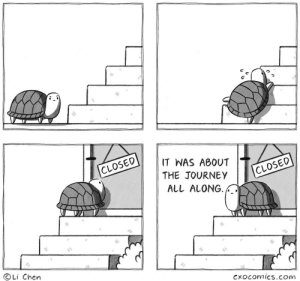 turtle: IT WAS ABOUT  CLOSED  THE JOURNEY  CLOSED  ALL ALONG  Li Chen  Cxocomics.com turtle