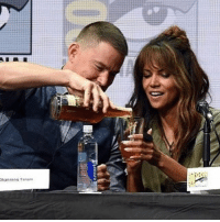 It was down the hatch for Halle Berry at the @kingsmanmovie panel. halleberry sdcc @toofabnews channingtatum: It was down the hatch for Halle Berry at the @kingsmanmovie panel. halleberry sdcc @toofabnews channingtatum