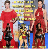 "SHARING IS CARING I loved watching ""Xena: Warrior Princess"" on television. For me, she was the closest thing to a live-action Wonder Woman show after the Lynda Carter series ended in 1979. Xena premiered 1995 while Wonder Woman's comic origins began in 1941. That's a 54 year jump Wonder Woman has over Xena. However they are both symbols for empowerment, strength, unity and courage. * I get why some of the initial comparisons were made. The Wonder Woman 'first look' photo which premiered at Comic Con 2015 was an image drenched in a brownish-sepia color palette. But seriously, her costume was never going to actually be that color. Snyder loves that monochromatic look to images. He did the same with his Batman 'first look' photo. * There will always remain many similarities as both Wonder Woman and Xena have histories buried in Ancient Greek traditions. There have been numerous storylines (1987 Challenge of the Gods for example) in the comics where Wonder Woman and the Amazons appeared in Greek battle skirt designs long before Xena hit the small screen. Long story short, Xena looks like Wonder Woman, not the other way around. *** @reallucylawless @gal_gadot @wonderwomanfilm xena warriorprincess lucylawless greekmythology hercules mywonderwoman girlpower women femaleempowerment MulherMaravilha MujerMaravilla galgadot unitetheleague princessdiana dianaprince amazons amazonwarrior manofsteel thedarkknight: IT WAS NICE OF  WONDER WOMAN  TO LE  ND XENA  HER SKIRT  IN TH ST PLACE  玉F」  RV  ★m  1995-2001  1987  2016-PRESENT SHARING IS CARING I loved watching ""Xena: Warrior Princess"" on television. For me, she was the closest thing to a live-action Wonder Woman show after the Lynda Carter series ended in 1979. Xena premiered 1995 while Wonder Woman's comic origins began in 1941. That's a 54 year jump Wonder Woman has over Xena. However they are both symbols for empowerment, strength, unity and courage. * I get why some of the initial comparisons were made. The Wonder Woman 'first look' photo which premiered at Comic Con 2015 was an image drenched in a brownish-sepia color palette. But seriously, her costume was never going to actually be that color. Snyder loves that monochromatic look to images. He did the same with his Batman 'first look' photo. * There will always remain many similarities as both Wonder Woman and Xena have histories buried in Ancient Greek traditions. There have been numerous storylines (1987 Challenge of the Gods for example) in the comics where Wonder Woman and the Amazons appeared in Greek battle skirt designs long before Xena hit the small screen. Long story short, Xena looks like Wonder Woman, not the other way around. *** @reallucylawless @gal_gadot @wonderwomanfilm xena warriorprincess lucylawless greekmythology hercules mywonderwoman girlpower women femaleempowerment MulherMaravilha MujerMaravilla galgadot unitetheleague princessdiana dianaprince amazons amazonwarrior manofsteel thedarkknight"