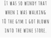 windi: IT WAS SO WINDY THAT  WHEN I WAS WALKING  TO THE GYM I GOT BLOWN  INTO THE WINE STORE