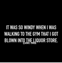 windi: IT WAS SO WINDY WHEN I WAS  WALKING TO THE GYM THAT IGOT  BLOWN INTOIHELLOUOR STORE