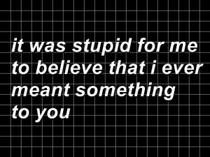 Believe, You, and For: it was stupid for me  to believe that i ever  meant something  to you