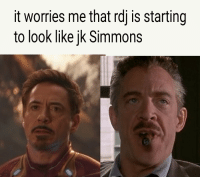 J.K. Simmons, Marvel Comics, and Wow: it worries me that rdj is starting  to look like jk Simmons