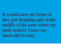 Memes, Shit, and Shopping: It would serve me better if  they put shopping carts in the  middle of the store where my  pride realizes I have too  much shit to carry