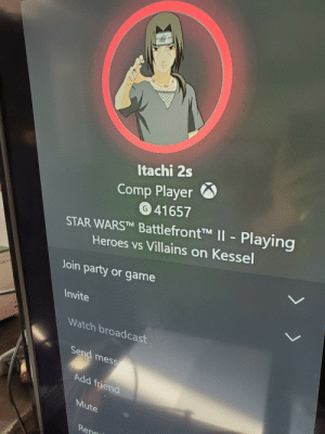 """Party, Mute, and Game: Itachi 2s  Comp Player O  41657  STAR WARS™ Battlefront™M II- Playing  Heroes vs Villains on Kessel  Join party or game  Invite  Watch broadcast  Send message  Add friend  Mute  Reno What does """"comp player"""" mean?"""