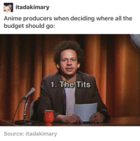 Animals, Memes, and School: itadakimary  Anime producers when deciding where all the  budget should go:  1. The Tits  Source: itada kimary I have a research paper that's due soon and I have all of school break to do it but I'll still probably do it the day before it's due ≪sam≫