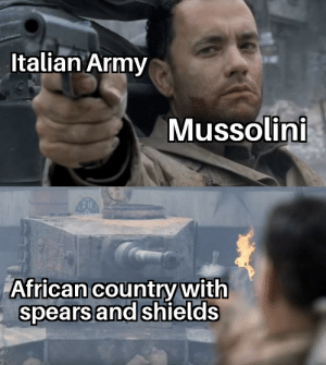 Army, Mussolini, and Italian: Italian Army  Mussolini  African country with  spears and shields Mussolini's army