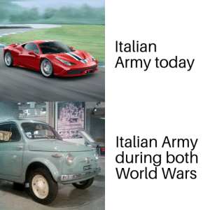 Memes, Army, and Good: Italian  Army today  Italian Army  during both  World Wars  235601 TO  CEAT car memes good