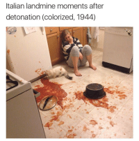 War is so ugly: Italian landmine moments after  detonation (colorized, 1944) War is so ugly