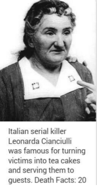 serial killer: Italian serial killer  Leonarda Cianciulli  was famous for turning  victims into tea cakes  and serving them to  guests. Death Facts: 20