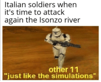 """Italian Soldiers: Italian soldiers when  it's time to attack  again the Isonzo river  other 11  """"just like the simulations"""