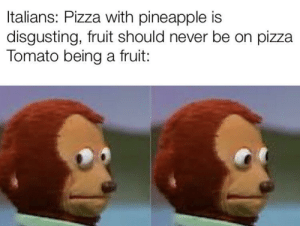 Pizza, Pineapple, and Never: Italians: Pizza with pineapple is  disgusting, fruit should never be on pizza  Tomato being a fruit: Disguised as a vegetable