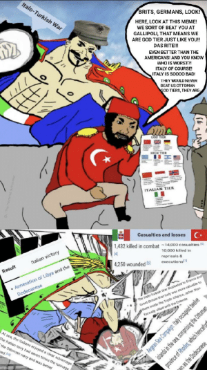 Bad, God, and Meme: Italo-Turkish War  BRITS, GERMANS, LOOK!  HERE, LOOK AT THIS MEME!  WE SORT OF BEAT YOU AT  GALLIPOLI, THAT MEANS WE  ARE GOD TIER JUST LIKE YOU!!  DAS RITE!!!  EVEN BETTER THAN THE  AMERICANS! AND YOU KNOW  WHO IS WORST?!  ITALY OF COURSE  ITALY IS SOO00 BAD!  THEY WOULD NEVER  BEAT US OTTOMAN  GOD TIERS, THEY ARE-  ma  GOD TIER  HIGH THER  ITALIAN TIER  Casualties and losses  1,432 killed in combat 14,000 casualties(6  10,000 killed in  4  reprisals &  Italian victory  executions  4,250 wounded15]  .Annexation of Libya and the  Dodecanese  Result  The Italo-Turkish War ilustrated to France and  Great Britain that Italy was more valuable to  them inside the Triple Alkance, rather than  forrmally allied with the Entente.  At sea, the ltalians enjoyed a clear advantage  The Italian navy had seven times the tonnage  the Ottoman navy and was better  ed asj  Aegean Sea Campaign: Italy occupied tweive  islands in the sea, comprising the Ottomar  province of Rhodes, which hencefe  n as the Dodecanese Italy vs turkey