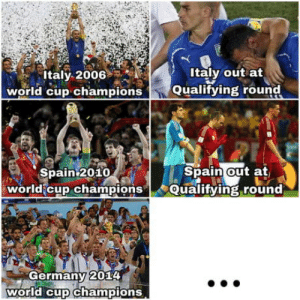 World Cup, Germany, and Spain: Italy 2006  world cup champions  Italy out at  Qualifying round  Spain2010  Spain out at  world cup championsQualifying round  Germany 2014  world cup champions The prophecy