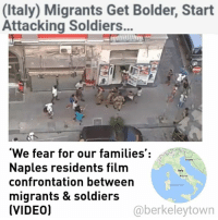 """A video showing a confrontation between Italian soldiers and immigrants on the streets of Naples has gone viral. In the clip, the troops appear to arrest a man before being confronted by others, who attempt to wrest the detained man free. The grainy video was posted to the Comitato Quartiere Vasto (the Vasto District Committee) group on Facebook, representing residents living in the Vasto area of central Naples near the Piazza Garibaldi. The video shows soldiers arresting a man, who looks to be of African descent and is lying on the ground. Others are seen approaching the group and attempting to pull the detained man away. Eventually, two other black men succeed, but the patrol catches up to them and encircle the original suspect, while more onlookers arrive. Somebody is heard shouting, """"Do not beat him!"""" It is not clear what the man was being arrested for, nor whether he was being abused by the soldiers in any way. Another video taken at the same scene shows no sign of violence towards the soldiers. The incident has provoked a sharp reaction from local residents. """"Abandoned and betrayed!"""" wrote Lello Cretella, the user who posted the video. """"Episodes like these happen every day in our neighborhood and everyone pretends not to see!"""" """"We feel alone and abandoned... we fear for us and our families!"""" Since being uploaded on Sunday, the video has been shared by hundreds of users, including right-wing politician Matteo Salvini. """"Men in our army are surrounded and attacked by dozens of immigrants who wanted to prevent the arrest of one of them,"""" he wrote. """"We are now in urban warfare."""" Matteo's party, the Northern League, once advocated separatism from southern Italy, including Naples, which it saw as backward, but is now trying to court southern voters on an anti-immigration platform. """"The tension is very high every day,""""said Naples councilor Alessandro Gallo, commenting on the video.""""However, something very serious is happening with the army being surrounded.: (Italy) M"""