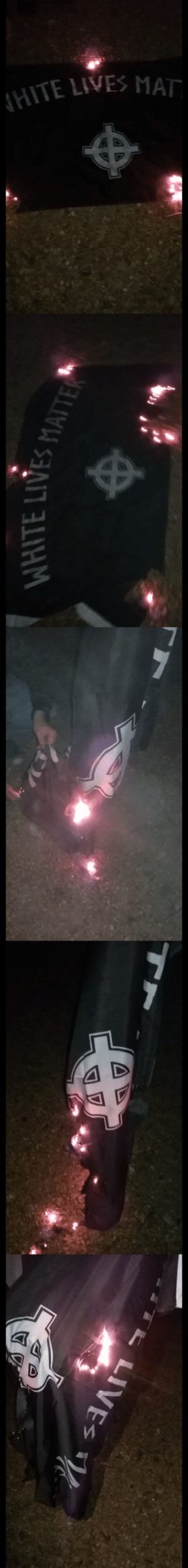 Protest, Tumblr, and Blog: ITE LIVES MAT   WHITE LIVES the-anarcho-raver:Tennessee antifa burning a white supremacist flag after the amren protest.