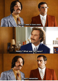 Anchorman: IthinkI was in love once  Really? What was her name?  don't remember Anchorman