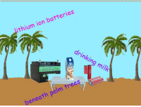 Deer, Drinking, and Trees: ithium ion batteries  drinking  milk  2V 4uAH DEER CTCLE  LITHIUM ION BATTERY  beneath palm trees <p>mmmmmmmm</p>