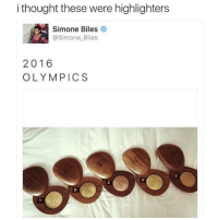BUT SAME (@makeupbymario): ithought these were highlighters  Simone Biles  @Simone Biles  2016  OLYMPICS  붊 BUT SAME (@makeupbymario)