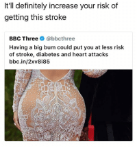 me: It'll definitely increase your risk of  getting this stroke  BBC Three@bbcthree  Having a big bum could put you at less risk  of stroke, diabetes and heart attacks  bbc.in/2xv8i85 me