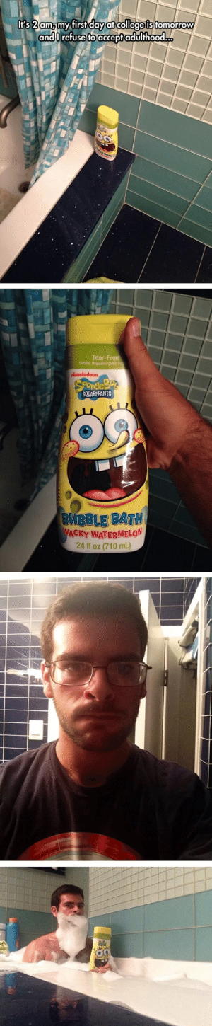 Forver a kid: It's 2 am, my first day at college is tomorrow  andOrefuse to acceptadulthood..  BATH  Tear-Free  Gentle, Hypoallergenic Fo  nleκolodeon,  SPOndleBos  SQUAREPANTS  BUBBLE BATH  WACKY WATERMELON  24 fl oz (710 mL) Forver a kid