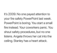 payed: It's 2009. No one payed attention to  your fire safety PowerPoint last week.  PowerPoint is boring. You start a small  fire instead. Your coworkers panic. You  shout safety procedures, but no one  listens. Angela throws her cat into the  ceiling. Stanley has a heart attack.