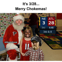 Atlanta Falcons, Memes, and Falcons: It's 3/28...  Merry Chokemas!  I NE ATL  3 28  3RD  4:46  3RD & 8  @GhettoGronk Happy Atlanta falcons day!