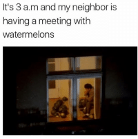 who's mans 😂💀: It's 3 a.m and my neighbor is  having a meeting with  watermelons who's mans 😂💀