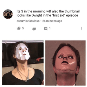 "Tumblr, Wtf, and Blog: Its 3 in the morning wtf also the thumbnail  looks like Dwight in the ""first aid"" episode  espurr is fabulous 26 minutes ago soldiersoftheroyalcounsil:  I forgot to post this here"