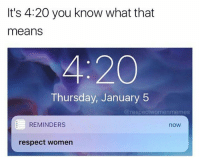 respect women: It's 4:20 you know what that  means  200  Thursday, January 5  @respect women memes  REMINDERS  nOW  respect women