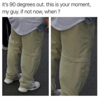 Funny, Moment, and Now: it's 90 degrees out. this is your moment  my guy. if not now, when? Unzip em 🤭