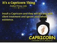 A Capricorn: It's a Capricorn Thing  ZodiacThing.com  Insult a Capricorn and-they will kill you with  silent treatment and ignore your whole  existence.  石  CAPRICORN  (December 22 to January 19)