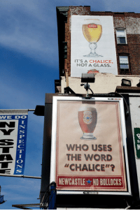 "Club, Tumblr, and Blog: IT'S A CHALICE,  NOT A GLASS.  74031-01-SG  WE DO  WHO USES  THE WORD  ""CHALICE""'?  NEWCASTLE NO BOLLOCKS <p><a href=""http://laughoutloud-club.tumblr.com/post/172140898102/who-uses-that-word"" class=""tumblr_blog"">laughoutloud-club</a>:</p>  <blockquote><p>Who Uses That Word?</p></blockquote>"