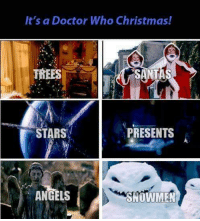 Memes, Christmas Tree, and 🤖: It's a Doctor Who Christmas!  TREES  STARS  PRESENTS  ANGELS  SNOWMEN