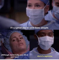 Abc, Facts, and Life: It's a great day to save lives, people.  [Although, technically, your life is  just fine.]  And it's nighttime. NationalInternDay 💉 — factsforgreys_chyler greys greysanatomy lexiegrey chylerleigh slexie supergirl alexdanvers sanvers melissageorge sadieharris shondaland abc ga tgit like facts like4like likeforlike dancemoms