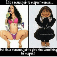 respect women: It's a man's job to respect women  eselena queentanilla  but its a woman s job to give him something  to respect