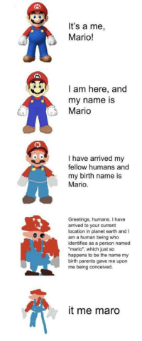 "Dank, Meme, and Parents: It's a me,  Mario!  I am here, and  my name is  Mario  I have arrived my  fellow humans and  my birth name is  Mario  Greetings, humans. I have  arrived to your current  location in planet earth and I  am a human being who  identifies as a person named  mario"", which just so  happens to be the name my  birth parents gave me upon  me being conceived.  it me maro <p>It's a me, Mario! via /r/dank_meme <a href=""http://ift.tt/2yMBvxf"">http://ift.tt/2yMBvxf</a></p>"