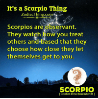 observant: It's a Scorpio Thing  ZodiacThing.co  m>  Scorpios are observant.  They watgh how you treat  others and-based that they  choose how close they let  themselves get to you.  m.  SCORPIO  (October 23 to November 21)