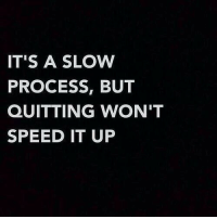 Speed, Slow, and Its A: IT'S A SLOW  PROCESS, BUT  QUITTING WON'T  SPEED IT UP