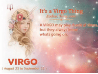 Don't mistake our silence for weakness.: It's a Virgo Thing  ZodiacThing.com  A VIRGO may play dumb at lames,  but they always know  whats going on  VIRGO  (August 23 to September 22) Don't mistake our silence for weakness.