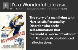 Family, Life, and Alcohol: + It's a Wonderful Life (1946)  PG | 2h 10min  Drama, Family, Fantasy | 7 January 1947 (USA)  The story of a man living with  Narcissistic Personality  Disorder who seeks  self-afhrmation that  LIBERTY FILMS-  Frank  the world is worse off without  him through alcohol induced  hallucinations.  James  Doma RBED  ONEL BARRYMORE TR8MAS MITCHELL RENY TRAERS