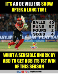 #AbDeVilliers #RCBVSKXIP: IT'S AB DE VILLIERS SHOW  AFTER A LONG TIME  BALLS 40  RUNS 57  FOURS 2  SIXES 4  LAUGHING  Coloers  WHAT A SENSIBLE KNOCK BY  ABD TO GET RCB ITS 1ST WIN  OF THIS SEASON  RA2 回矽/laughingcolours #AbDeVilliers #RCBVSKXIP