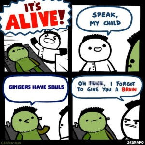 Fuck you Calum: IT'S  ALIVE!  SPEAK  MY CHILD  OH I I FORGOT  To GIVE You A BRAIN  GINGERS HAVE SOULS  GRAFENSTEIN  SRGRAFO Fuck you Calum