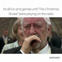 "Jingle all the way home so I can cry in private 😭🎄: it's all fun and games until The Christmas  Shoes"" starts playing on the radio  ELITE DAILY Jingle all the way home so I can cry in private 😭🎄"