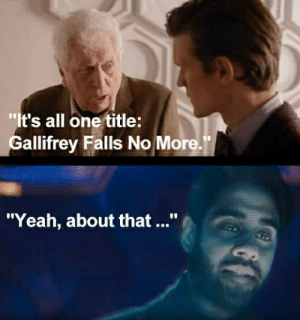 "No More! Gallifrey Falls: ""It's all one title:  Gallifrey Falls No More.""  ""Yeah, about that ..."" No More! Gallifrey Falls"