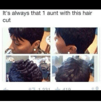 Memes, 🤖, and Ask: It's always that 1 aunt with this hair  cut I was in class the other day and my friend kept asking me if I used mascara because I have naturally long eye lashes and I was like nah b they're just here. AJD I highkey hate long eyelashes because they always get in me eye making me more blind then I already am