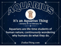 Life, Aquarius, and Nature: It's an Aquarius Thing  (January 20 to February 18)  Aquarians are life-time students of  human nature, continuously wondering  why humans do what they do.  ZodiacThing.com