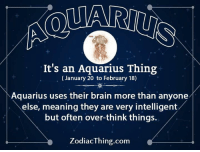 Aquarius, Brain, and Meaning: It's an Aquarius Thing  (January 20 to February 18)  Aquarius uses their brain more than anyone  else, meaning they are very intelligent  but often over-think things.  ZodiacThing.com